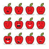 Set of 12 modern flat emoticons: Red apple with leaf, food, fruit, smile, sadness and other emotions. Vector. Illustration isolated of red background Royalty Free Stock Images