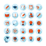 Set of modern flat icons on education theme. Set of modern flat icons with long shadow in stylish colors on education, sport, science, biology, art and music stock illustration