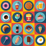 Set of Modern flat icons with FastFood. Royalty Free Stock Photos