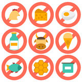 Set of modern flat icons with products containing Royalty Free Stock Photo
