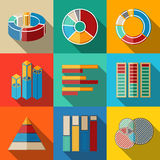 Set of modern flat infographic elements - pie. Charts, graphics, rates, diagrams etc. Vector illustration Royalty Free Stock Photography