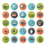 Set of modern flat travel icons. Design elements for web Stock Images