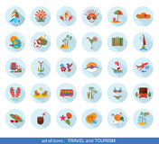 Set of modern flat travel icons. Tourism design elements and labels Stock Images