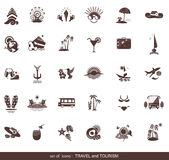 Set of modern flat travel icons. Tourism labels for web design Royalty Free Stock Photography
