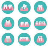 Set of modern flat vector conceptual icons of teeth conditions, stomatology, dentistry, orthodontics, oral health care and hygiene Royalty Free Stock Images