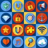 Set of Modern flat web icons. SEO, development, security, internet and music Royalty Free Stock Photo