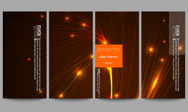Set of modern flyers. Abstract lines background, dynamic glowing decoration, motion design, energy style vector Royalty Free Stock Photography