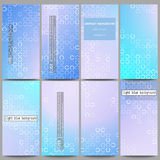 Set of modern flyers. Abstract white circles on light blue background, vector illustration Stock Image