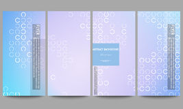 Set of modern flyers. Abstract white circles on light blue background, vector illustration Royalty Free Stock Images