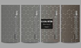 Set of modern flyers. Chemistry pattern, hexagonal design vector illustration Stock Photo