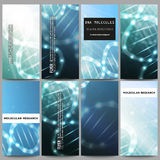 Set of modern flyers. DNA molecule structure on dark blue background. Science vector background Stock Images