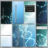 Set of modern flyers. DNA molecule structure on dark blue background. Science vector background Stock Photos