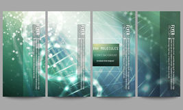 Set of modern flyers. DNA molecule structure on dark green background. Science vector background Royalty Free Stock Image