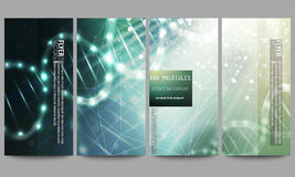 Set of modern flyers. DNA molecule structure on dark green background. Science vector background Stock Image