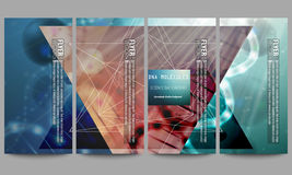 Set of modern flyers. DNA molecule structure on Stock Image