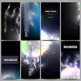 Set of modern flyers. Electric lighting effect. Magic vector background with lightning. Royalty Free Stock Images