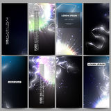 Set of modern flyers. Electric lighting effect. Magic vector background with lightning. Stock Photo