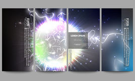 Set of modern flyers. Electric lighting effect Royalty Free Stock Photography
