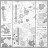 Set of modern flyers. Hand drawn floral doodle pattern, abstract vector background Royalty Free Stock Images