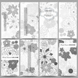 Set of modern flyers. Hand drawn floral doodle pattern, abstract vector background Royalty Free Stock Photos