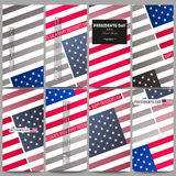 Set of modern flyers. Presidents day background with american flag, abstract vector illustration Stock Photos