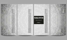 Set of modern flyers. Sacred geometry, triangle design gray background. Abstract vector illustration stock illustration