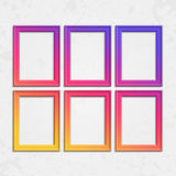 Set of modern frames. Set of colorful wooden frames. Wooden square picture frames of colorful set for your web design. Abstract colorful picture frames on Royalty Free Stock Images