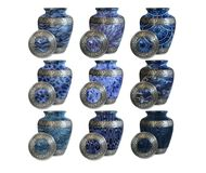 A set of modern Funeral urns for memorials stock image