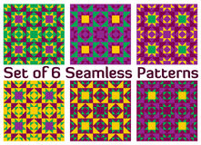 Set of 6 modern geometric seamless patterns with triangles and squares of green, purple, violet and yellow shades Royalty Free Stock Photography