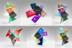 Set of modern geometrical concepts, design elements. Set of modern geometrical concepts - design elements. Abstract color translucent shapes with text on 3d Stock Illustration