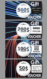 Set of modern gift voucher templates. Abstract lines background, motion design vector illustration Royalty Free Stock Images