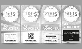 Set of modern gift voucher templates. Abstract lines background, simple abstract monochrome texture.  vector illustration