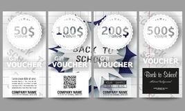 Set of modern gift voucher templates. Back to school background with letters made from halftone dots, cartoon explosion Royalty Free Stock Photography
