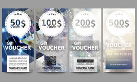Set of modern gift voucher templates. DNA molecule structure on dark blue background. Science vector background Royalty Free Stock Images