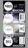 Set of modern gift voucher templates. Electric lighting effect. Magic vector background with lightning.  Stock Photography