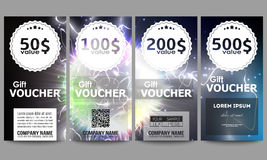 Set of modern gift voucher templates. Electric lighting effect. Magic vector background with lightning.  Stock Photos