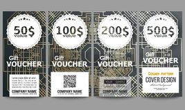 Set of modern gift voucher templates. Golden technology pattern on dark background with connecting lines and dots Royalty Free Stock Images