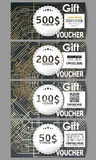 Set of modern gift voucher templates. Golden technology pattern  Stock Photography
