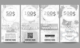 Set of modern gift voucher templates. Hand drawn Royalty Free Stock Photos