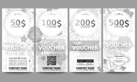 Set of modern gift voucher templates. Hand drawn floral doodle pattern, abstract vector background Royalty Free Stock Photography