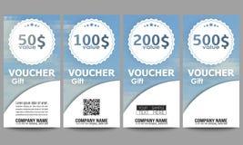 Set of modern gift voucher templates. Polygonal Stock Photography