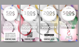 Set of modern gift voucher templates. Ribbons for 8 March. International Womens Day. Vector illustration.  Stock Photo