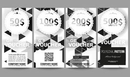Set of modern gift voucher templates. Triangular vector pattern. Abstract black triangles on white background.  Royalty Free Stock Photo