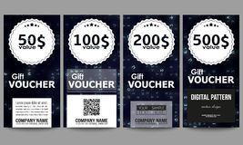 Set of modern gift voucher templates. Virtual reality, abstract technology background with blue symbols, vector Royalty Free Stock Photo