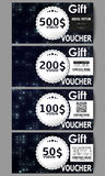 Set of modern gift voucher templates. Virtual reality, abstract technology background with blue symbols, vector Stock Images