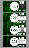 Set of modern gift voucher templates. Virtual reality, abstract technology background with green symbols, vector Royalty Free Stock Image