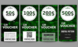 Set of modern gift voucher templates. Virtual reality, abstract technology background with green symbols, vector Stock Photos