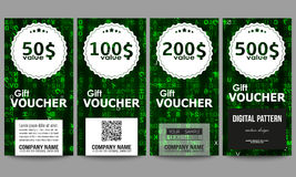 Set of modern gift voucher templates. Virtual reality, abstract technology background with green symbols, vector Stock Photo