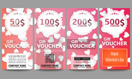 Set of modern gift voucher templates. White paper hearts, red vector background for Valentines day Stock Photos
