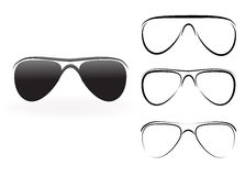 Set of modern glasses and sunglasses Stock Images